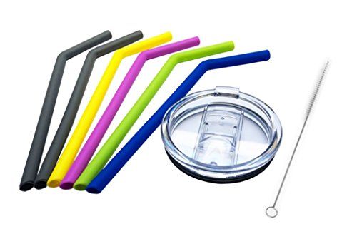 DeLa'Casa Spill-Proof BPA-Free 30-Ounce Tumbler Replacement Lid and 6 Reusable Silicone Drinking Straw with Cleaning Brush