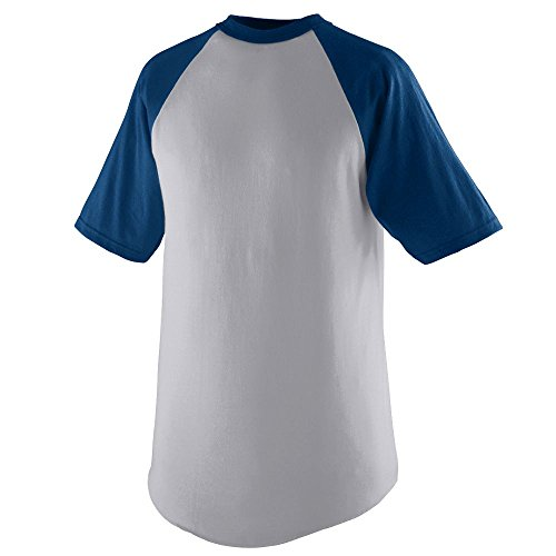(Augusta Sportswear Short Sleeve Baseball Jersey, Large, Athletic Heather/Navy)