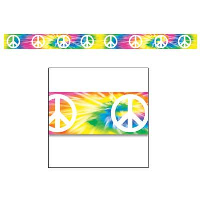 Tye-Dyed W/Peace Signs Party Tape(Pack of 3) - Peace Sign Party Tape