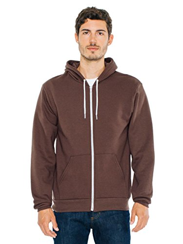 American Apparel  Unisex Flex Fleece Zip Hoodie, Brown, - Tie Apparel American