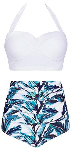 (Amourri Womens Retro Vintage Polka Underwire High Waisted Swimsuit Bathing Suits Bikini (Small (fits Like US 2-4), White+Leaves))