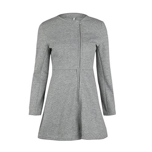 KOLY Da donna O Neck Zipper top Dress Mini spring abito Lungo maniche  skirts Autunno Casual ... cb5ec650c0e
