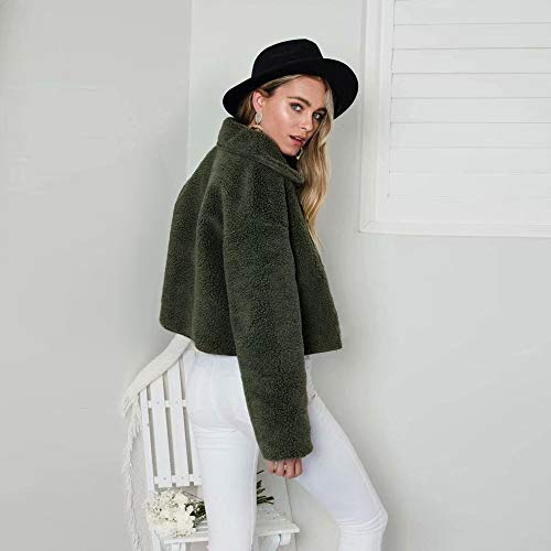 Lunga Verdi Inverno Corta Outwear Pile Moda Bavero Signora Vonvonco Manica In Giacca Donne Signore Casuali Caldo atwYRqZR
