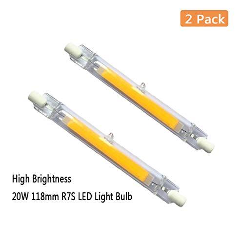 EBD Lighting 118mm 15W R7S LED Bulb (2 Pack) 150W Halogen Equivalent 118mm J-Type High Brightness 15W 120V R7S Base 3000K Warm White J Type T3 118mm Double Ended Flood Light 360°Beam Angle Landscape L