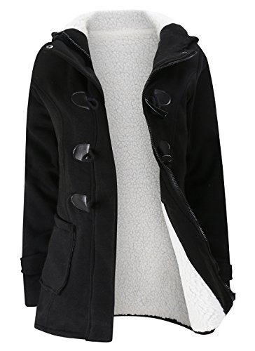 Gihuo Women's Casual Fleece-Lined Winter Warm Coat Hooded Jacket (X-Small, (Fur Belt Black Long Jacket)