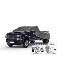 Cubierta de camión resistente a la intemperie Compatible con Dodge Ram 3500 Crew Cab 2010 2019 ~ Cama de 8 pies   5L para exteriores e interiores   Protéjase de la lluvia, la nieve, el granizo, el sol   Cable antirrobo, bolsa y correas contra el viento
