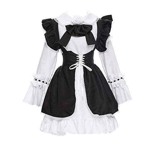 YOMORIO Lolita Cute Anime Lace Maid Costume Uniform Vintage Gothic Layered Bow Court Apron Dress (M)