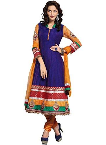 IndusDiva Women's Royal Blue Cotton Anarkali Churidaar