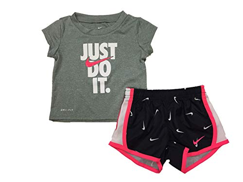 (Nike Girl's Graphic-Print T-Shirt & Shorts 2 Piece Set (Black(16E429-023)/Pink/White, 18 Months))