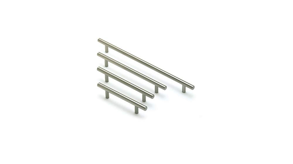 Brushed Steel T Bar Kitchen Door Handles 160mm hole centres REJS