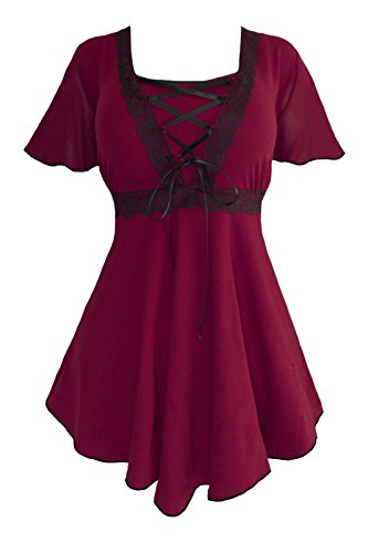 Dare to Wear Victorian Gothic Boho Women's Plus Size Angel Corset Top Burgundy/Black L]()