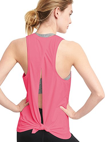 (Bestisun Women's Lace Up Knotted Back Boat Neck Backless Cute Short Tshirt Workout Yoga Tank Tops Small Pink)