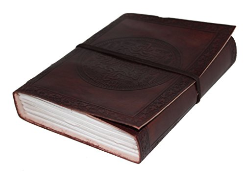 [LEATHER JOURNAL Writing Notebook - Antique Handmade Leather Bound Daily Notepad For Men & Women Unlined Paper Medium 7 x 5 Inches] (Brown Leather Journal)