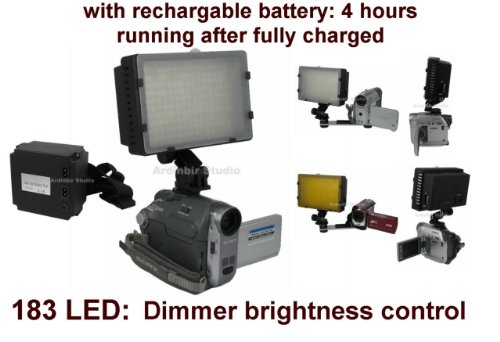 Video 520lm LED Light with Rechargable Battery (4 hours running) for Canon VIXIA XH-A1, A1S, G1, XL-1S, XL1, XL2, XL-H1, GL2, GL1, XM2, XM1, FS300, FS200, FS100, FS10, FS22, FS11, FS21, DC20, DC50, DC40, DC22 -