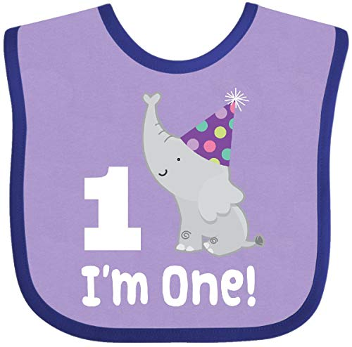 Inktastic - Babys 1st Birthday Elephant Zoo Baby Bib Lavender and Purple 29afd