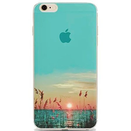 iPhone 5S Case,Vandot Fashion Colorful Printing Ultra Slim Thin Soft TPU Silicone Bumper+Hard PC Matte Transparent Back Cover For Apple iPhone 5 5s SE-Unique Landscape Sea Water Grass Reeds - Sheel Sea