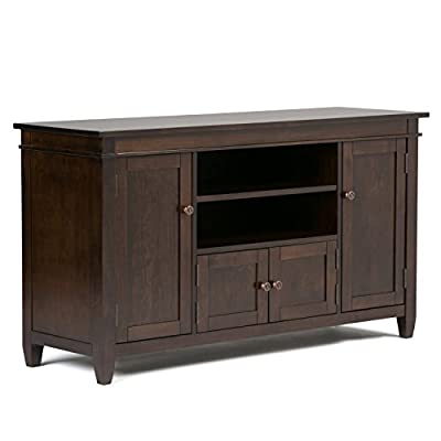 Simpli Home 3AXCCRL-08 Carlton Solid Wood 54 inch Wide Contemporary TV Media Stand in Tobacco Brown  For TVs up to 60 inches - Handcrafted with care using the finest quality solid wood Hand-finished with a Dark Tobacco Brown stain and a protective NC lacquer to accentuate and highlight the grain and the uniqueness of each piece of furniture. Wide and Tall TV Stand is perfect for TVs up to 60 inches - tv-stands, living-room-furniture, living-room - 41%2BvKy9FH8L. SS400  -