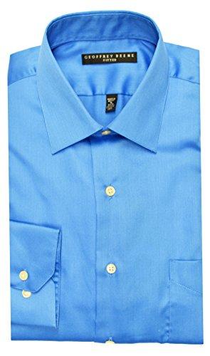 33 Wrinkle Free Dress Shirt (Geoffrey Beene Sateen Fitted Dress Shirt - Bluebird (15 - 32/33, Bluebird))