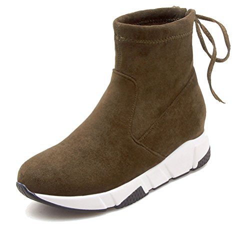 HiTime Ladies Athletic Pull On Wedges Sneakers Lace up Back High Top Ankle Boots Size 2-5.5 Army Green