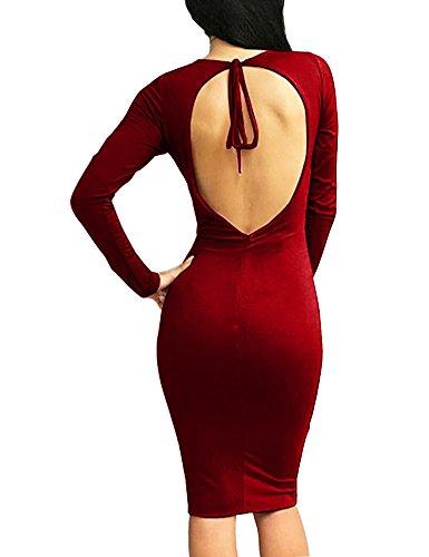 Aderenti Lunga Delle Partito Vino Rosso V Manica Allegrace Midi Donne Collo Vestiti Notte Backless Sexy qzZwS0xBg0