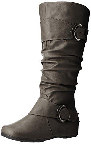 Brinley Co Frauen Hilton-WC Slouch Boot Graues breites Kalb