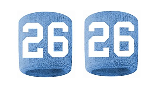 #26 Embroidered/Stitched Sweatband Wristband LIGHT BLUE Sweat Band w/ WHITE Number (2 Pack)