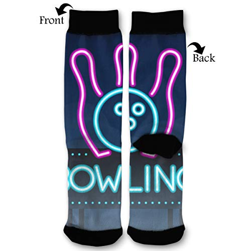 Bowling Road Sing City Sign Neon Socks Funny Fashion Novelty Advanced Moisture Wicking Sock for Man Women