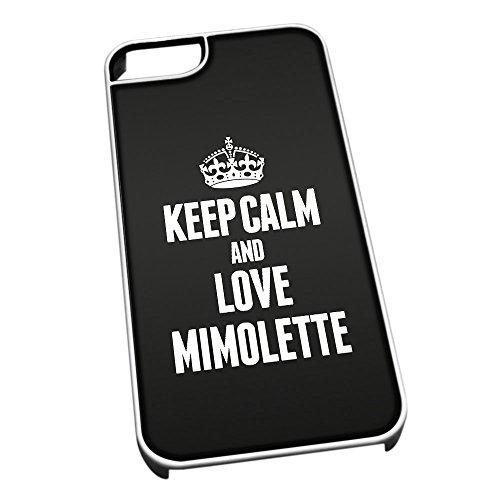Bianco cover per iPhone 5/5S 1280nero Keep Calm and Love Mimolette