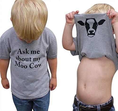 Little Cow Moo (KIDDAD Toddler Kids Baby Boys Ask me About My moo Cow Funny T-Shirt Clothes Cow Inside Short Sleeve Tops Tees Size S(0/2T) (Grey))