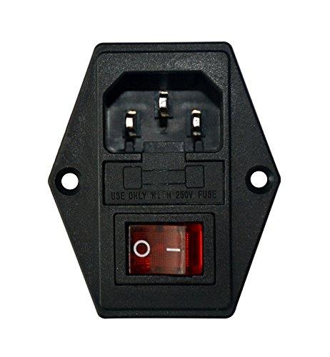 HONGYETAJA Inlet Module Plug 10A Fuse Switch UR and CE Certification Male Power Socket 10A 250V 3 Pin IEC320 C14 ()