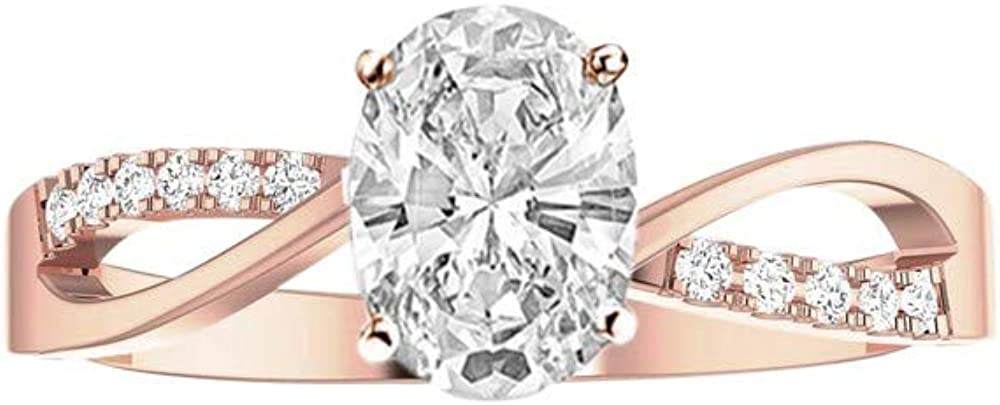 0.83 Ctw 14K White Gold Elegant Intertwine Twisting Split Shank Oval Cut Diamond Engagement Ring (0.75 Ct D Color SI1 Clarity Center Stone)