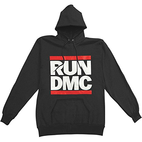 Run DMC Logo Adult Pullover Sweatshirt Hoodie - Black ()