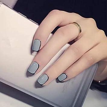Amazon.com : Fashion Design 24pcs Gray Color False Nails with Black ...