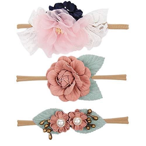 Subesty Baby Girls Nylon Elastic Headband Soft Flower Hair Band For Toddler Infant Newborn Set Of 10 (baby headband-S)]()