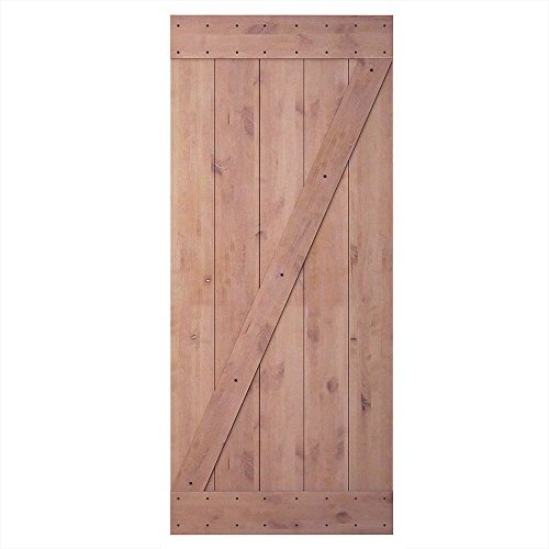 otty Alder Shiny Interior Sliding Barn Door Slab(Disassembled&Pre-grooved),Z-frame (Alder Wood Doors)