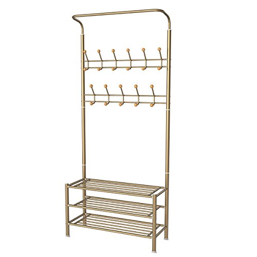 HOMEMAXS Entryway Coat Rack with Storage 3-Tier Shoes Rack, Hat Rack Clothes Garment Rack Including 22 Hooks (Champagne) 33 x 71 x 12 Inch (Hall Shoe Storage)