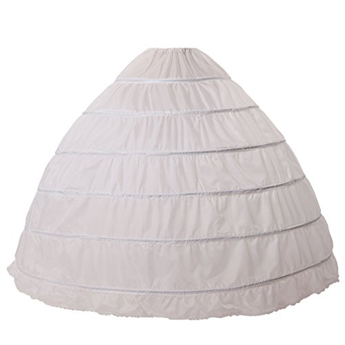 MISSYDRESS Full A-line 6 Hoop Floor-length Bridal Dress Gown Slip Petticoat,White,Free Size Dress Petticoat Slip