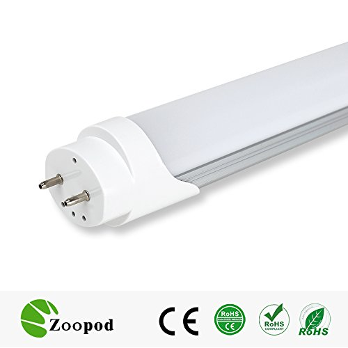 zoopod T8 LED Tube Lamp, 6500K cool white, 3000K warm white, Frosted Cover (25Pcs, 6000~6500K) 25-pack 10-pack 4ft T8 18W (32w fluorescent replacement)