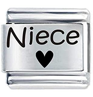 Daisy Charm Niece Heart ETCHED Italian Charm - Fits Nomination Classic  Bracelets 5d44fcb33