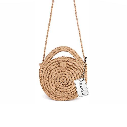 Zongsi Mini Handmade Round Straw Beach Bag Shoulder bag for women - Bag Handbag Straw