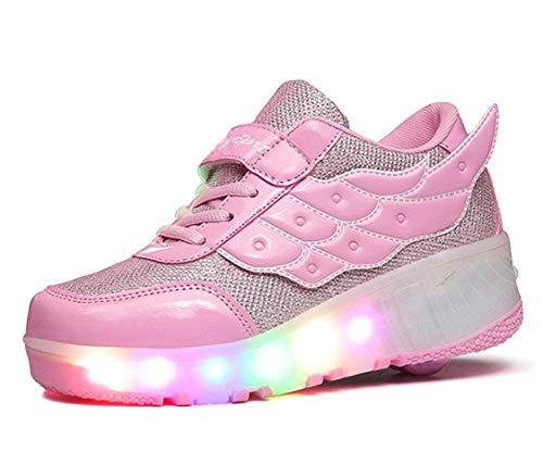 98fbfa6bbf740c YCOMI Girls Boys LED Roller Shoes with Wheels Roller Skate Sneakers Led  Roller Shoes, Pink
