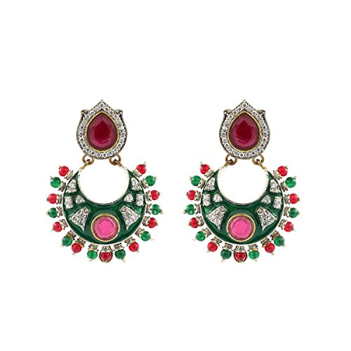 Be You Stylish Red-Green Color Ruby-Emerald, Cubic Zirconia & Kundan Meena Traditional Look Rhodium Plated Brass Chand Bali Earring for Women (Plated Chand Brass)