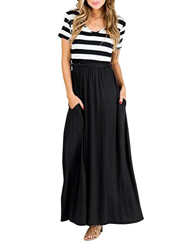 MEROKEETY Women's Short Sleeve Striped V Neck Casual Tie Empire Waist Maxi Dress with Pockets (Sleeve Empire In Short Dress Black)