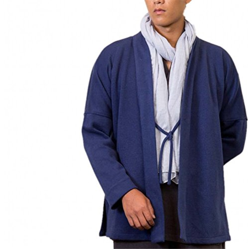 Roberoody Handsome Men's Casual Shirt Blouse Cotton Linen Outwear Coat BlueX-Large by Roberoody Novelty-outerwear-jackets