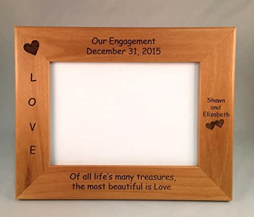 Laser Engraved Personalized Engagement 5x7 Photo Frame
