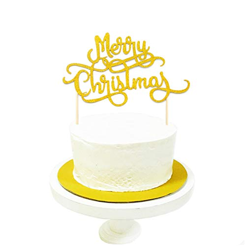 - JANOU Merry Christmas Gold Glitter Cake Topper Cupcake Picks Merry Xmas Happy New Year Party Decoration Pack 10pcs