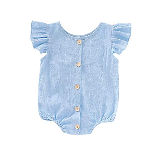 Baby Clothes, Ruffles Sleeve Bodysuit Romper MITIY Infant Baby Boys Girls Cotton Playsuit Outfits Newborn (12-18M, Blue^)