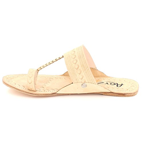 Open On Slip Comfort Flat Nude Casual Sandals Shoes Toe Size LONDON Ladies Authentic Kolhapuri Leather Women Chappal AARZ 07qzP0