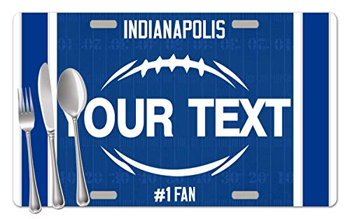 BRGiftShop Personalized Custom Name Football Team Indianapolis Set of 4 Table Placemats - Colts Desk Team Indianapolis