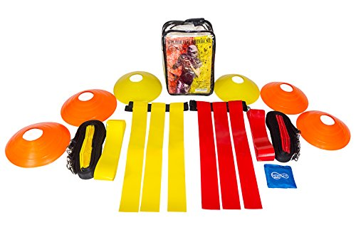 (ImpiriLux 14 Man Flag Football Set for Kids | 3 Flags Per Belt | 6 Field Cones | Yard Marker | Handled Clear Carry)